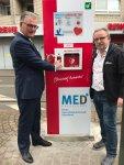 Öffentlicher Defibrillator auf dem Gertrudisplatz