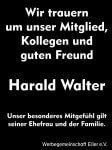 Wir trauern um Harald Walter